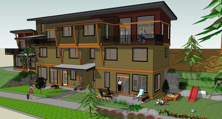 Rendering of one of the residential buildings.